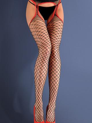 Сексуальные чулки с поясом в крупную сетку Strip Panty 153