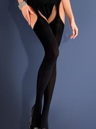 Плотные черные чулки с поясом Strip Panty Microfibre (60 den)