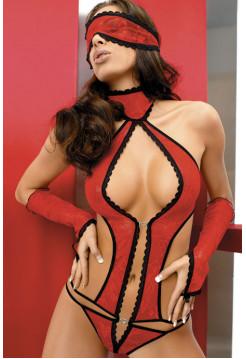Эротическое кружевное красное боди с перчатками и маской Lara