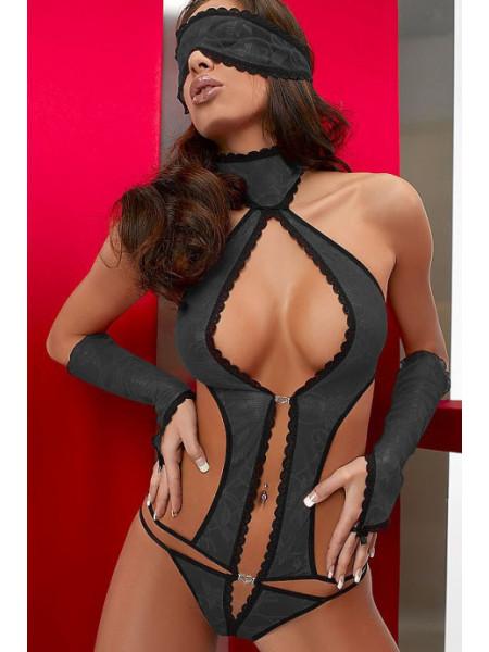 Эротическое кружевное боди с перчатками и маской Lara.