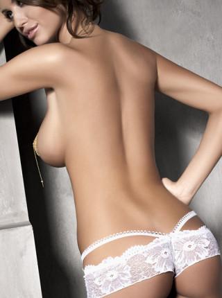 Сексуальные белые кружевные шортики с бантиком Touch Me