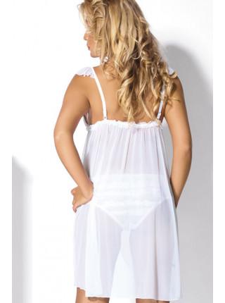 Удлиненный прозрачный бебидолл с кружевным лифом Flirt 220 white