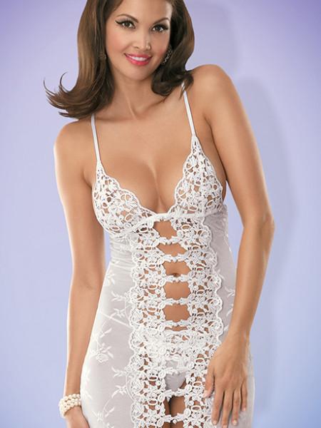 Белая сорочка с кружевом и жемчужинами Bride chemise