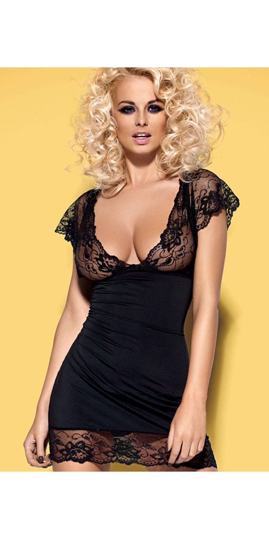 Эротическая черная сорочка с кружевным лифом Imperia