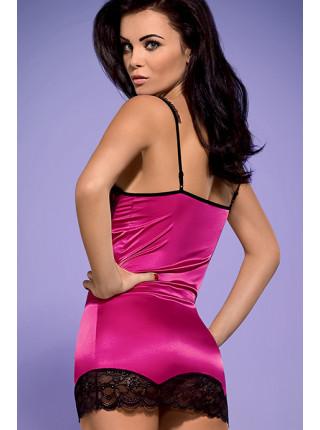 Сексуальная атласная сорочка цветом фуксии с кружевом Roseberry