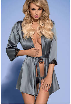 Сексуальный сатиновый халатик с черным гипюром Satinia robe