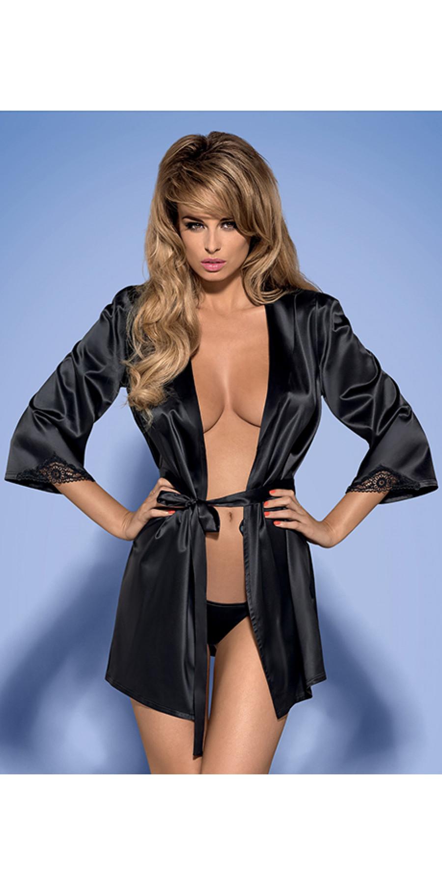 Черный сексуальный халатик с гипюром Satinia robe
