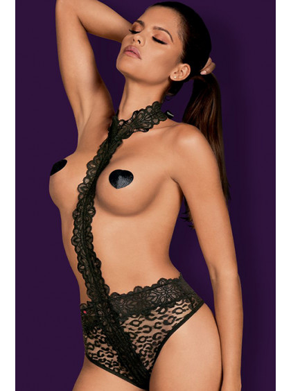 Кружевное боди с открытой грудью Crossita