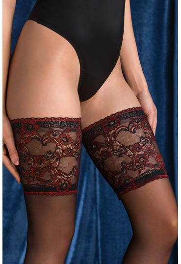 Чулки Gabriella Avior 20 den с самоудерживающимся кружевом (14 см)  Черно-красный