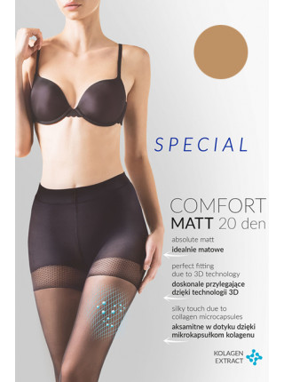 Телесные колготки с уплотненными шортиками Comfort Matt 20 den