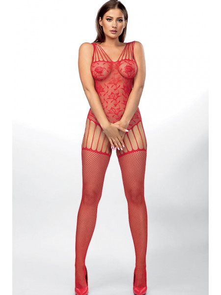 Красный комбинезон-сетка с имитацией корсета Leisha