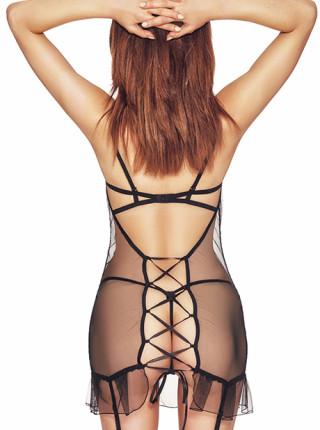 Сексуальный пеньюар с полупрозрачными вставками Luxx