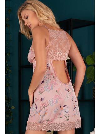 Атласная сорочка с кружевной спинкой Katissa
