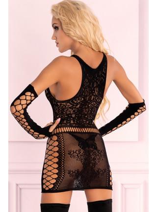 Сексуальное ажурное платье с перчатками Marlamina