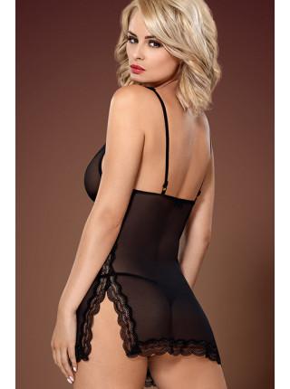 Сексуальная прозрачная сорочка с кружевом и разрезами 839-CHE-1