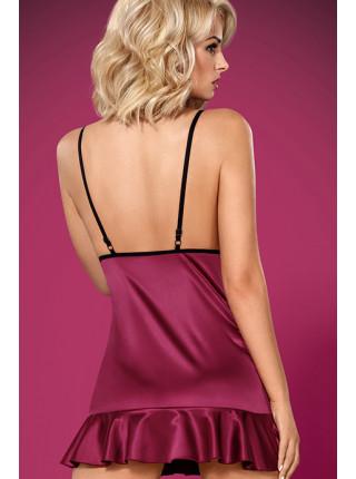 Сексуальная атласная сорочка с рюшами 845-CHE-5