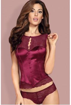 Сексуальный атласный бордовый корсет с кружевом Miamor corset