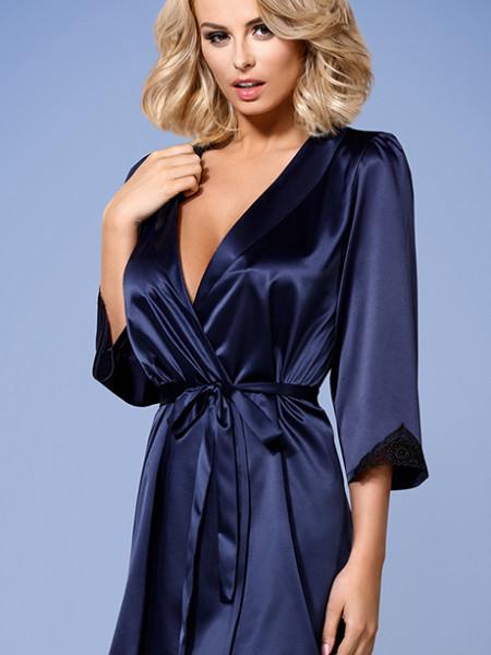 Сексуальный синий халатик с черным гипюром Satinia robe