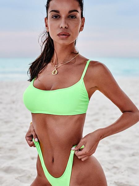 Комфортный и сексуальный салатовый раздельный купальник Mexico Beach