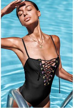 Слитный черный купальник с пикантной шнуровкой Beverelle