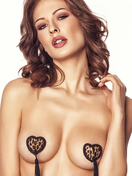 Наклейки на грудь с леопардовым принтом и кисточками