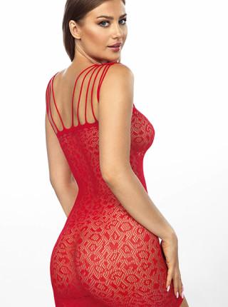 Сексуальное полупрозрачное красное платье Rubi
