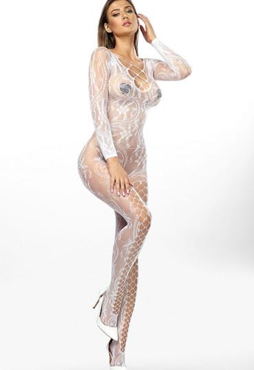 Белый комбинезон-сетка со шнуровкой Mirabella