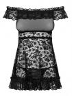 Эротическая сорочка с черного кружева Flores