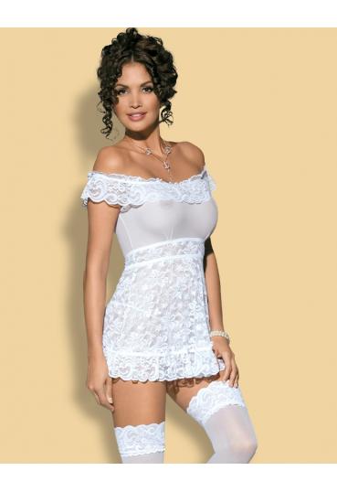 Эротическая сорочка с белого кружева Flores
