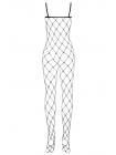 Бодистокинг в крупную сетку и пикантным вырезом N102